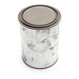 La vecchia vernice in bianco dello stagno può isolato su bianco. Immagine Stock