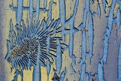 La vecchia vernice dà le strutture. Fotografia Stock