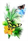 La vegetación y las mariposas tropicales en el fondo de la pintura multicolora salpica stock de ilustración