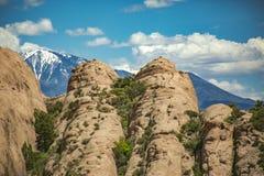 La vegetazione rocciosa splendida in priorità alta ed in neve ha ricoperto il sal m. della La Fotografie Stock