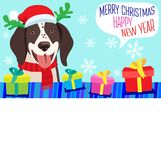 La veille Chien de bande dessinée avec Santa Hat, le cadeau et l'espace pour votre bannière de vecteur des textes de Noël Image stock