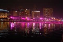 La veille d'an neuf au compartiment Singapour de marina Photos libres de droits