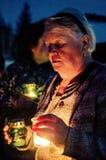 La vela de la acción de la memoria en honor de Victory Day en la guerra mundial 2 puede 9, 2016 en la región de Kaluga en Rusia Fotografía de archivo libre de regalías