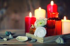La vela del balneario limpia las botellas Imagen de archivo