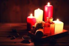 La vela del balneario limpia las botellas Imagen de archivo libre de regalías