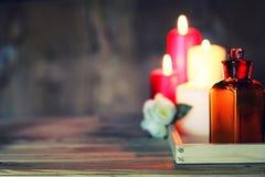 La vela del balneario limpia las botellas Fotos de archivo libres de regalías