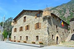"""La Vella, †dell'Andorra dell'Andorra """"luglio 2015 Costruzione del Parlamento di Andorra's Immagine Stock"""