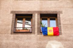 La Vella, Andorra. A Flag of Andorra hanging out in a street. Of the city center royalty free stock photography