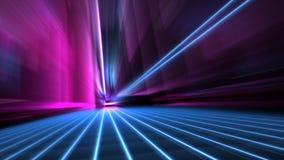 La velocidad del extracto empañó la calle de neón azul y rosada de 80s del estilo de la ciudad en el papel pintado de la noche 4k stock de ilustración