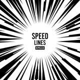 La velocità comica allinea il vettore La parte radiale in bianco e nero del libro allinea il fondo Manga Speed Frame Azione del s Immagine Stock Libera da Diritti