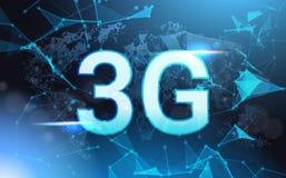 la velocità di collegamento a Internet 3g cede firmando un documento poli Mesh Wireframe On Blue Background basso futuristico Fotografia Stock