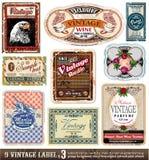 La vendimia etiqueta la colección - conjunto 3 Imagenes de archivo