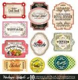 La vendimia etiqueta la colección - conjunto 10 Fotografía de archivo libre de regalías
