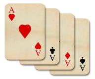 La vendimia vieja aislada aces tarjetas Imagen de archivo libre de regalías