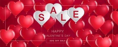 La vendita del giorno del ` s del biglietto di S. Valentino, l'insegna del modello, cuori Balloons, vettore Fotografia Stock Libera da Diritti