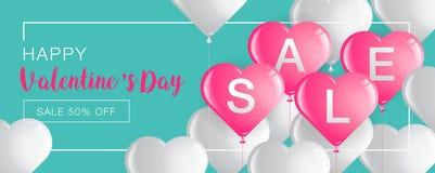 La vendita del giorno del ` s del biglietto di S. Valentino, l'insegna del modello, cuori Balloons, vettore Illu Immagini Stock Libere da Diritti