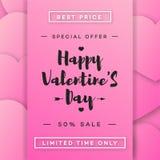 La vendita dell'insegna dei biglietti di S. Valentino con l'offerta speciale sul fondo dei cuori e della struttura dentella il co Fotografia Stock Libera da Diritti