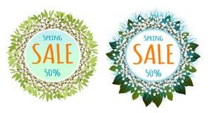 La vendita della molla o di Pasqua sul manifesto rotondo del fondo con le uova fiorisce percentuale di sconti Vettore royalty illustrazione gratis