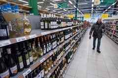 La vendita di alcool Fotografie Stock Libere da Diritti