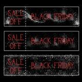 La vendita di Black Friday fuori dalla pittura di lerciume del fondo messa manifesti orizzontali schizza la raccolta delle insegn Fotografia Stock