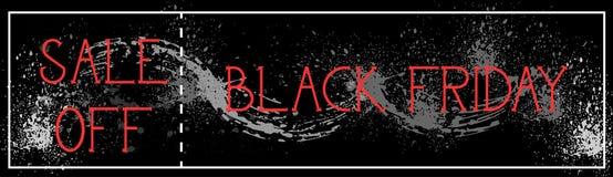 La vendita di Black Friday fuori dalla pittura orizzontale di lerciume del fondo del manifesto schizza la progettazione dell'inse Fotografia Stock Libera da Diritti
