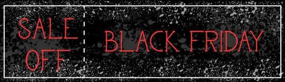 La vendita di Black Friday fuori dalla pittura orizzontale di lerciume del fondo del manifesto schizza la progettazione dell'inse Fotografia Stock