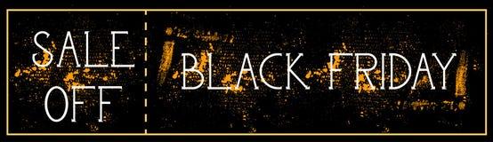 La vendita fuori dalla pittura di lerciume del fondo del manifesto di Black Friday schizza la progettazione orizzontale dell'inse Fotografia Stock Libera da Diritti