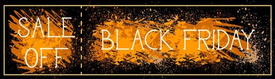 La vendita fuori dalla pittura di lerciume del fondo del manifesto di Black Friday schizza la progettazione orizzontale dell'inse Immagini Stock