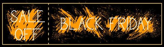 La vendita fuori dalla pittura di lerciume del fondo del manifesto di Black Friday schizza la progettazione orizzontale dell'inse Fotografia Stock
