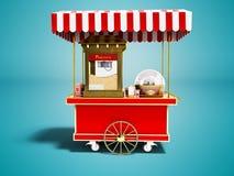 La vendita moderna di popcorn da un carretto rosso 3d rende sul backgro blu illustrazione vettoriale