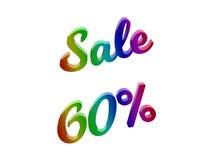 La vendita 60 per cento sconta l'illustrazione calligrafica del testo resa 3D colorata con la pendenza dell'arcobaleno di RGB Fotografie Stock
