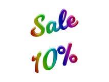 La vendita 10 per cento sconta l'illustrazione calligrafica del testo resa 3D colorata con la pendenza dell'arcobaleno di RGB Fotografie Stock Libere da Diritti
