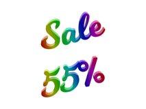 La vendita 55 per cento sconta l'illustrazione calligrafica del testo resa 3D colorata con la pendenza dell'arcobaleno di RGB Fotografia Stock