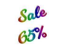 La vendita 65 per cento sconta l'illustrazione calligrafica del testo resa 3D colorata con la pendenza dell'arcobaleno di RGB Fotografia Stock