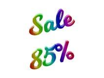 La vendita 85 per cento sconta l'illustrazione calligrafica del testo resa 3D colorata con la pendenza dell'arcobaleno di RGB Fotografia Stock Libera da Diritti