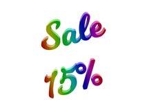 La vendita 15 per cento sconta l'illustrazione calligrafica del testo resa 3D colorata con la pendenza dell'arcobaleno di RGB Fotografie Stock