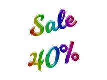 La vendita 40 per cento sconta l'illustrazione calligrafica del testo resa 3D colorata con la pendenza dell'arcobaleno di RGB Fotografie Stock