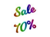 La vendita 70 per cento sconta l'illustrazione calligrafica del testo resa 3D colorata con la pendenza dell'arcobaleno di RGB Immagine Stock Libera da Diritti