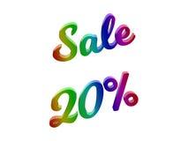 La vendita 20 per cento sconta l'illustrazione calligrafica del testo resa 3D colorata con la pendenza dell'arcobaleno di RGB Immagine Stock Libera da Diritti