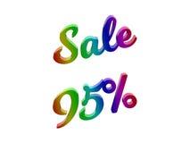 La vendita 95 per cento sconta l'illustrazione calligrafica del testo resa 3D colorata con la pendenza dell'arcobaleno di RGB Immagini Stock