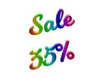 La vendita 35 per cento sconta l'illustrazione calligrafica del testo resa 3D colorata con la pendenza dell'arcobaleno di RGB Immagini Stock