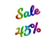 La vendita 45 per cento sconta l'illustrazione calligrafica del testo resa 3D colorata con la pendenza dell'arcobaleno di RGB Fotografie Stock Libere da Diritti