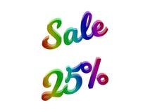 La vendita 25 per cento sconta l'illustrazione calligrafica del testo resa 3D colorata con la pendenza dell'arcobaleno di RGB Immagini Stock Libere da Diritti