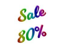 La vendita 80 per cento sconta l'illustrazione calligrafica del testo resa 3D colorata con la pendenza dell'arcobaleno di RGB Immagini Stock Libere da Diritti