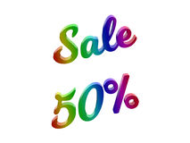 La vendita 50 per cento sconta l'illustrazione calligrafica del testo resa 3D colorata con la pendenza dell'arcobaleno di RGB Fotografie Stock