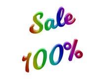 La vendita 100 per cento sconta l'illustrazione calligrafica del testo resa 3D colorata con la pendenza dell'arcobaleno di RGB Immagini Stock Libere da Diritti