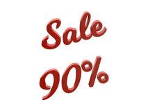La vendita 90 per cento sconta l'illustrazione calligrafica del testo resa 3D di colore rosso Fotografia Stock Libera da Diritti
