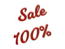 La vendita 100 per cento sconta l'illustrazione calligrafica del testo resa 3D di colore rosso Fotografia Stock Libera da Diritti