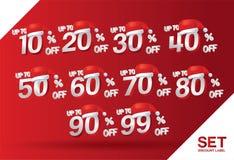 La vendita a ribasso di Natale ha fissato 10,20,30,40,50,60,70,80,90,99 per cento sul vettore rosso dell'insieme di etichetta con illustrazione vettoriale
