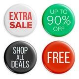 La venta abotona vector Iconos de la etiqueta del bolso de la venta Etiquetas de las compras Ejemplo aislado promoción del produc stock de ilustración